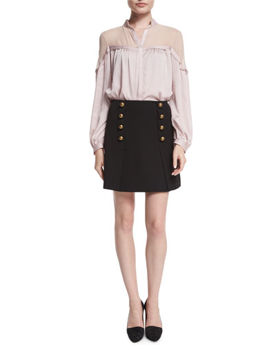 Long-Sleeve Peasant Blouse & A-Line Mini Skirt with Button Detail