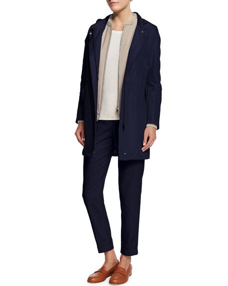 Loro Piana Rain Hooded Zip-Front Jacket W/Liner, Blue