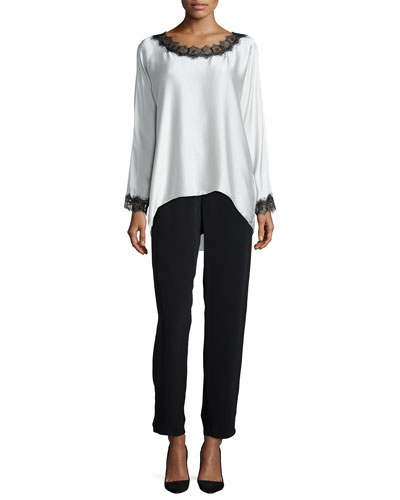 Long-Sleeve Silk Tunic W/ Lace Trim & Full-Leg Silk Pants, Women's