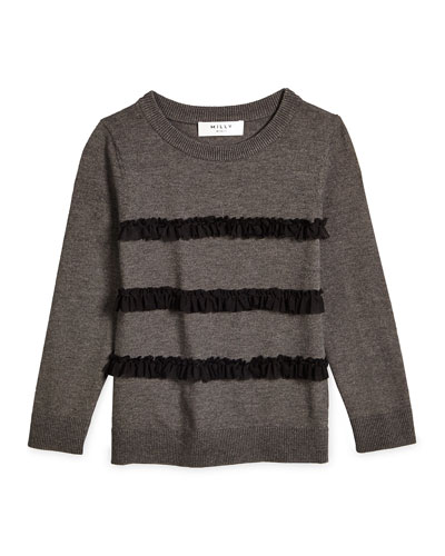 Ruffle-Trim Pullover Sweater, Charcoal Gray