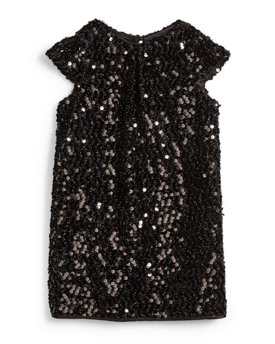 Sequin Cap-Sleeve Shift Dress, Black