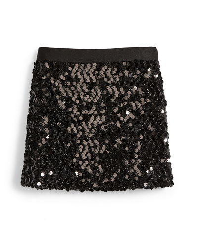 Sequin Mini Skirt, Black