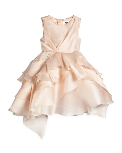 Tara Silk Tiered Cocktail Dress, Blush