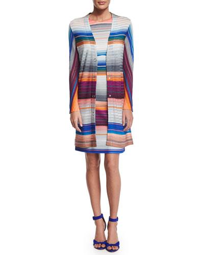 Missoni Long-Sleeve Snap-Front Sweater & Striped Sheath Dress
