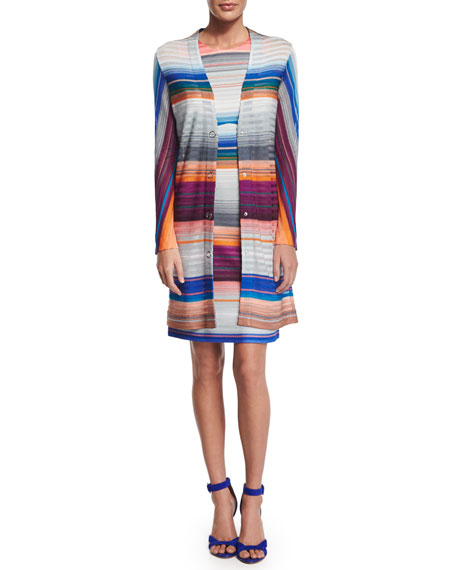 Missoni Striped Sheath Dress W/Cutout, Gray Multi Bright