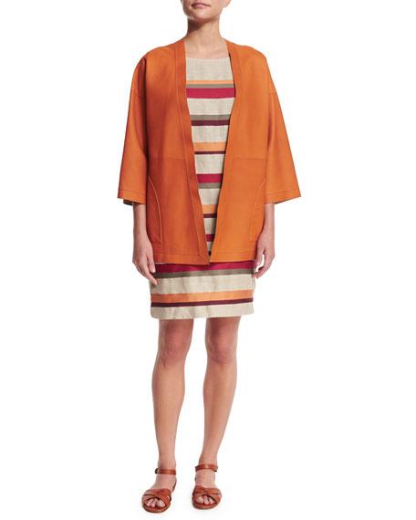 Loro PianaReversible Leather Kimono Jacket, Sughero/Alkekengi