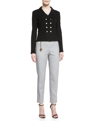 Nouveau Boucle Knit Spencer Jacket, Stripe-Print Silk Cap-Sleeve Shell, Emma Ticking Striped Cropped Pants, & Leather Curb Chain Hip Belt with Heart Charm