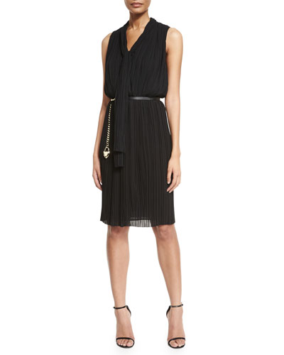 Georgette Fortuny Pleated Tie-Neck Dress & Leather Curb Chain Hip Belt with Heart Charm