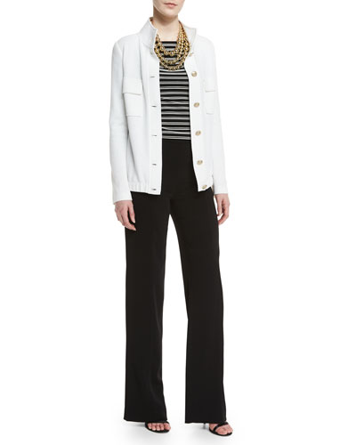 Trellis Knit Metro Field Jacket, Striped Bateau-Neck 3/4-Sleeve Top, Diana Classic Cady Wide-Leg Sailor Pants, Pearly & Metal Bead Multi-Strand Necklace & Crystal Stud Earrings
