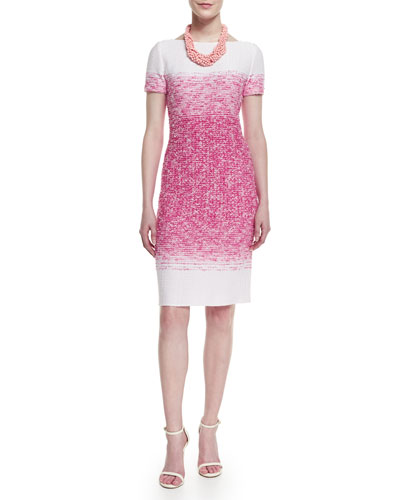 Papillons Ombre Knit Sheath Dress, Multi Strand Braided Pearly Necklace & Crystal Stud Earrings