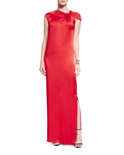 Asymmetric Drape-Front Liquid Satin Gown & Open Crystal Cuff Bracelet