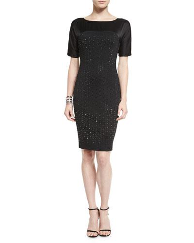 Milano Knit Sequined Satin-Yoke Dress, Open Crystal Cuff Bracelet & Metal Bead & Two-Tone Pearly Drop Earrings