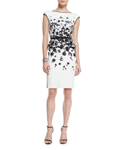 Graphic Floral Degrade Peplum Dress & Open Crystal Cuff Bracelet