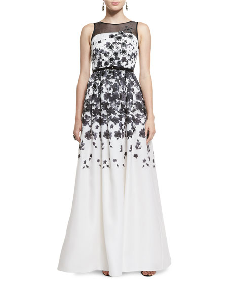 St. John Collection Graphic Floral Degrade Satin Organza