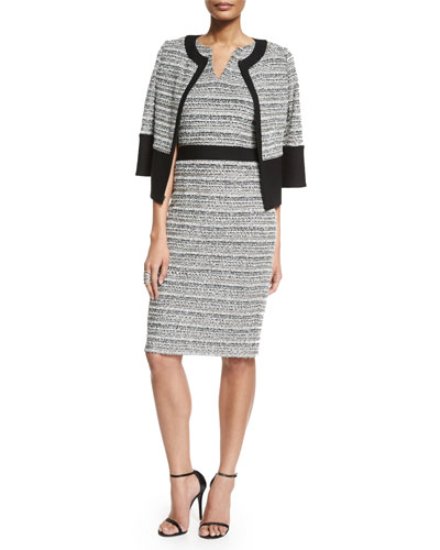Laponche Knit 3/4-Sleeve Jacket, Laponche Knit Sheath Dress & Nine-Row Crystal Cocktail Ring