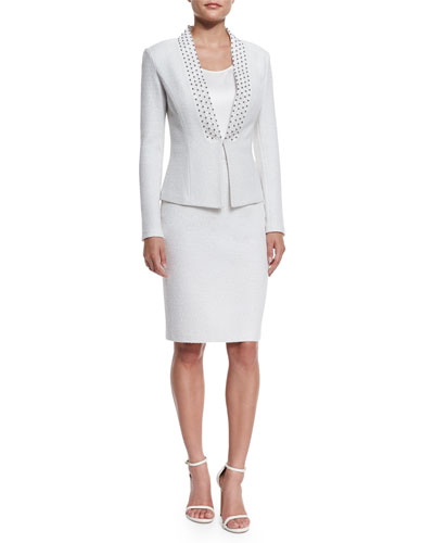 Embroidered Triade Knit Jacket, Liquid Scoop-Neck Shell & Triade Knit Pencil Skirt