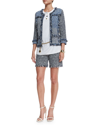Patchwork Via Krupp Knit Jacket, Stretch Silk Sleeveless Top, Via Krupp Knit Shorts, Leather Curb Chain Hip Belt with Heart Charm & Crystal Center Cuff Bracelet