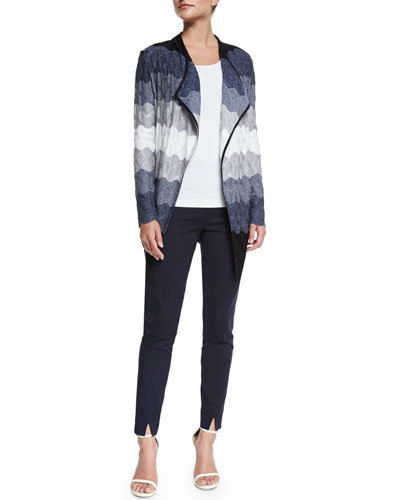 Ombre Waves Knit Artisan Cardigan, Viscose Milano Knit Contour Tank & Stretch Micro Ottoman Cropped Pants