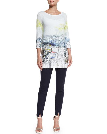 St. John Collection Amalfi Vista-Print Jersey Tunic