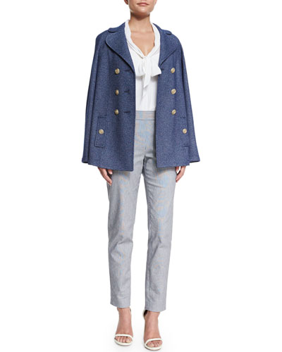 Denim Boucle Knit Double-Breasted Jacket, Silk Georgette Tie-Neck Shell & Emma Ticking Stripe Cropped Pants