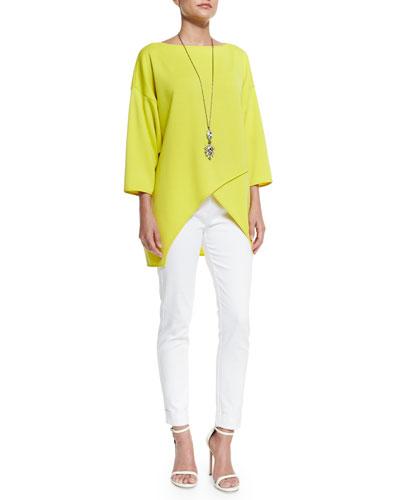 Bardot 5-Pocket Slim Capri Jeans, Milano Knit Crossover-Front Top & Multi Tonal Crystal Pendant Necklace