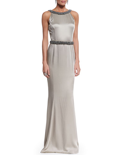 Beaded Liquid Crepe Gown, Metal Bead & Two-Tone Pearly Drop Earrings & Marquise Crystal Cocktail Ring