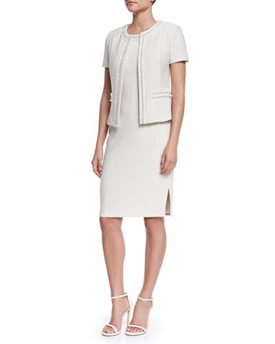 Shimmer New Boucle Knit Short-Sleeve Jacket & Sleeveless Dress