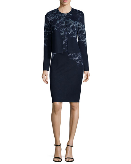 St. John Collection Island Floral Shimmer Jacquard Sweater