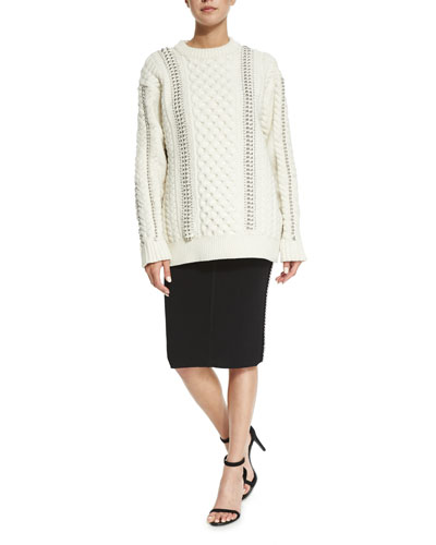 Embellished Cable-Knit Sweater & Pencil Skirt W/Embellished Outseam