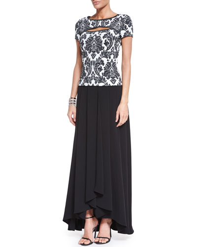 Damask Knit Short-Sleeve Top, Classic Cady Gown Skirt & Open Crystal Cuff Bracelet