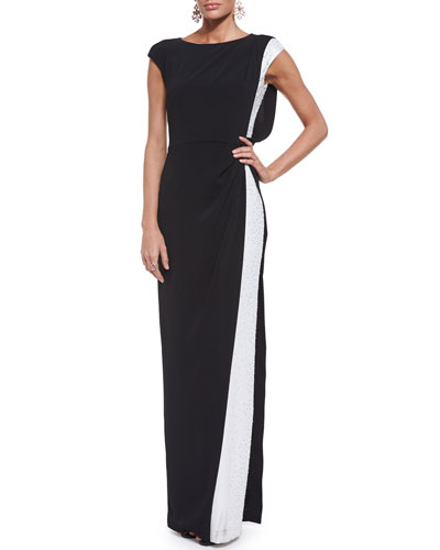 Embellished Cady Cap-Sleeve Gown & Jewelry