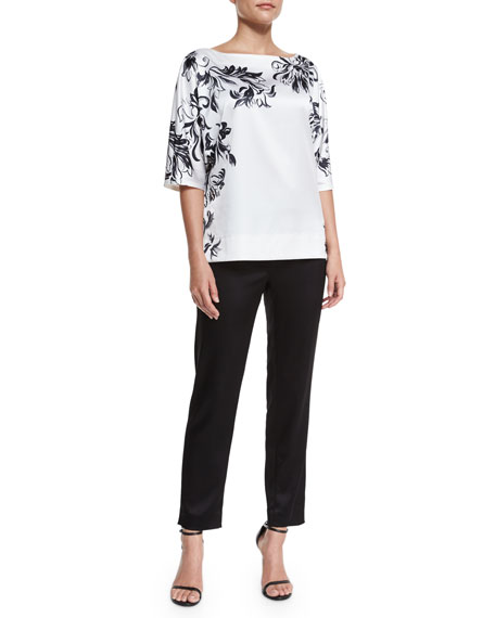 St. John Collection Placed Ornate Tulip-Print Satin Top