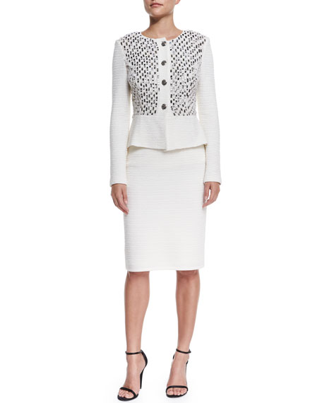 St. John Collection Bella Knit Sequin Peplum Jacket,
