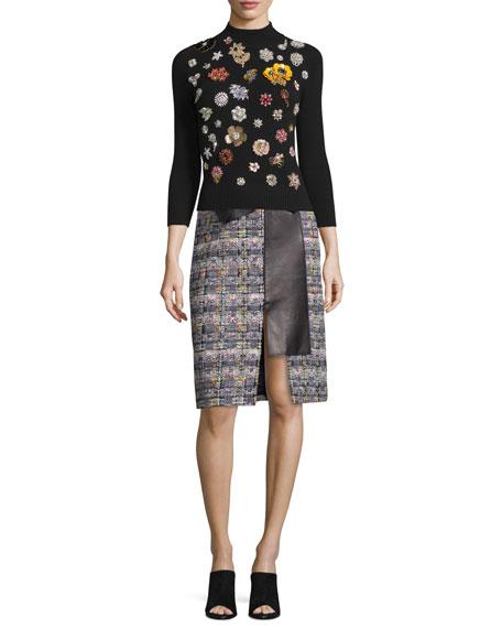 Alexander McQueen Floral-Embellished Cashmere Sweater, Black/Multi