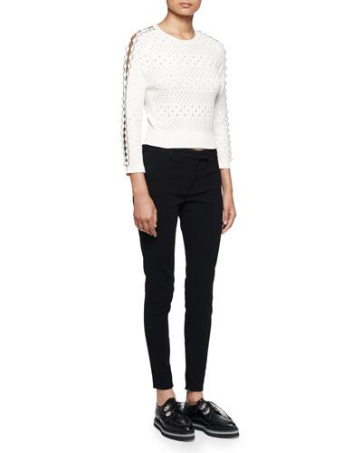 Jewel-Neck Punch-Detail Sweater & Ankle-Zip Legging Pants