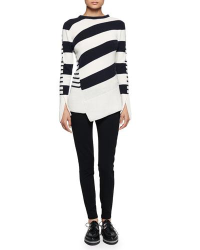Multi-Stripe Asymmetric-Hem Sweater & Ankle-Zip Legging Pants