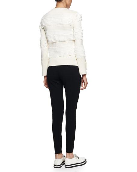 Asymmetric Ruffle-Knit Sweater, Ivory