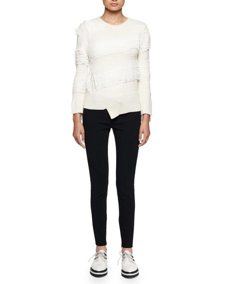 Alexander McQueen Asymmetric Ruffle-Knit Sweater, Ivory