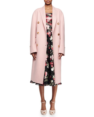 Double-Breasted Long Coat, Strapless Full-Skirt Cocktail Dress & Wide Leather Belt W/Jeweled Buckle
