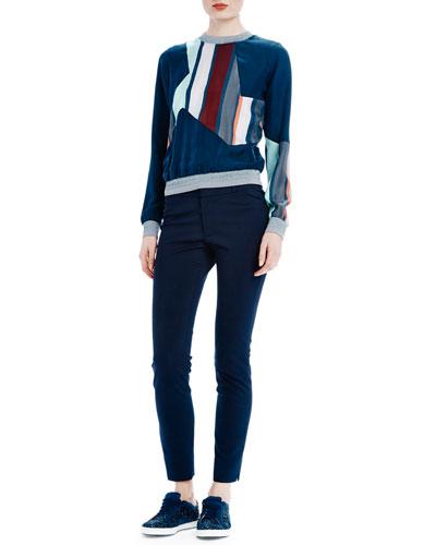 Silk Sweatshirt W/ Striped Trim & Super Skinny-Leg Pants