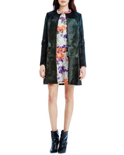 Calf-Hair Midi Jacket & Dropped-Waist Mini Dress
