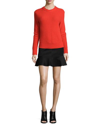 Alexis Pullover Sweater & Brianna Ruffle-Hem Mini Skirt