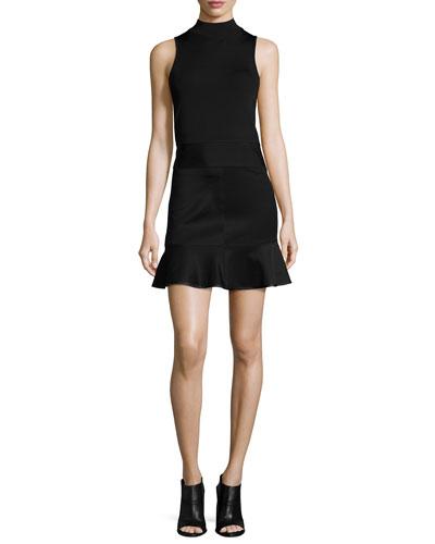 Lara Sleeveless Mock-Neck Top & Brianna Ruffle-Hem Mini Skirt