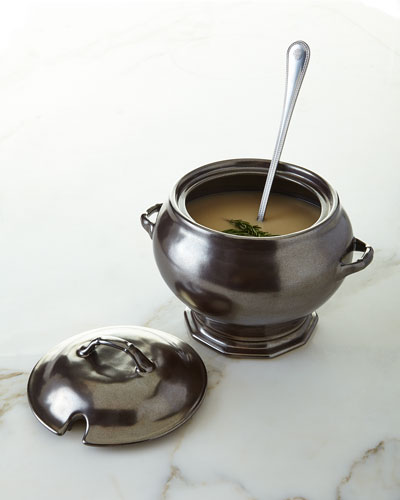 Pewter Stoneware Tureen & Berry & Thread Soup Ladle