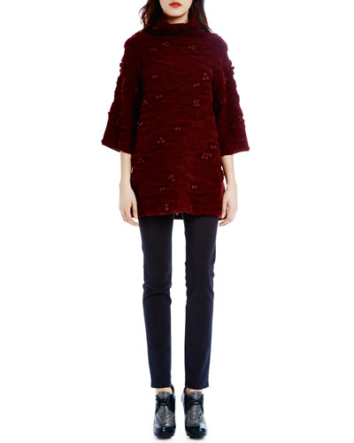 Camo Plush 3/4-Sleeve Sweater & Super Skinny-Leg Pants