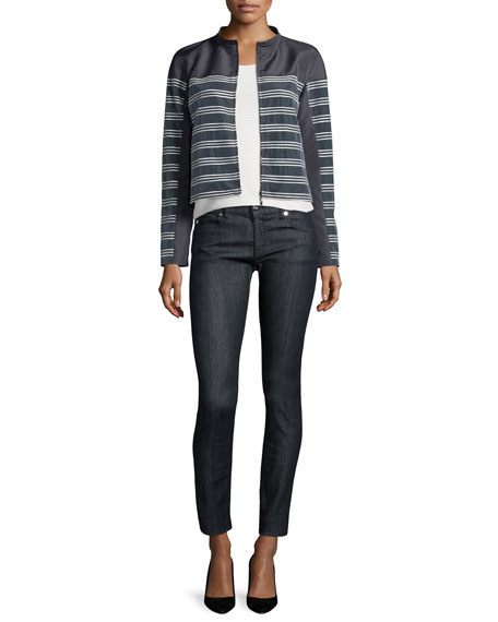 Armani Collezioni Horizontal-Striped Zip-Front Jacket, Slate/Seashell