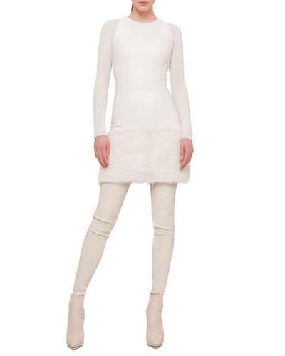 Sleeveless Neoprene Apron Dress & Cashmere-Blend Long-Sleeve Top