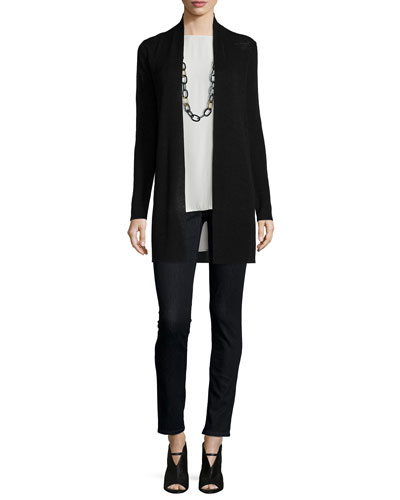 Tencel®-Linen Ribbed Cardigan, Jersey Long Slim Camisole & Organic Soft Stretch Skinny Jeans, Petite
