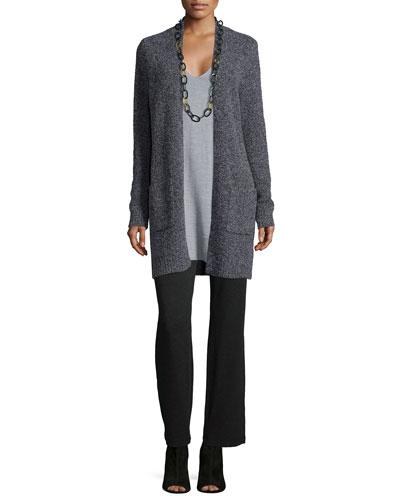 Wool-Blend Melange Long Cardigan, Short-Sleeve Merino Jersey Tunic & Cozy Stretch Straight-Leg Pants