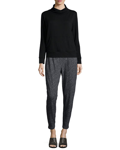 Funnel-Neck Fleece Box Top & Bias Organic Cotton-Blend Slouchy Pants, Petite
